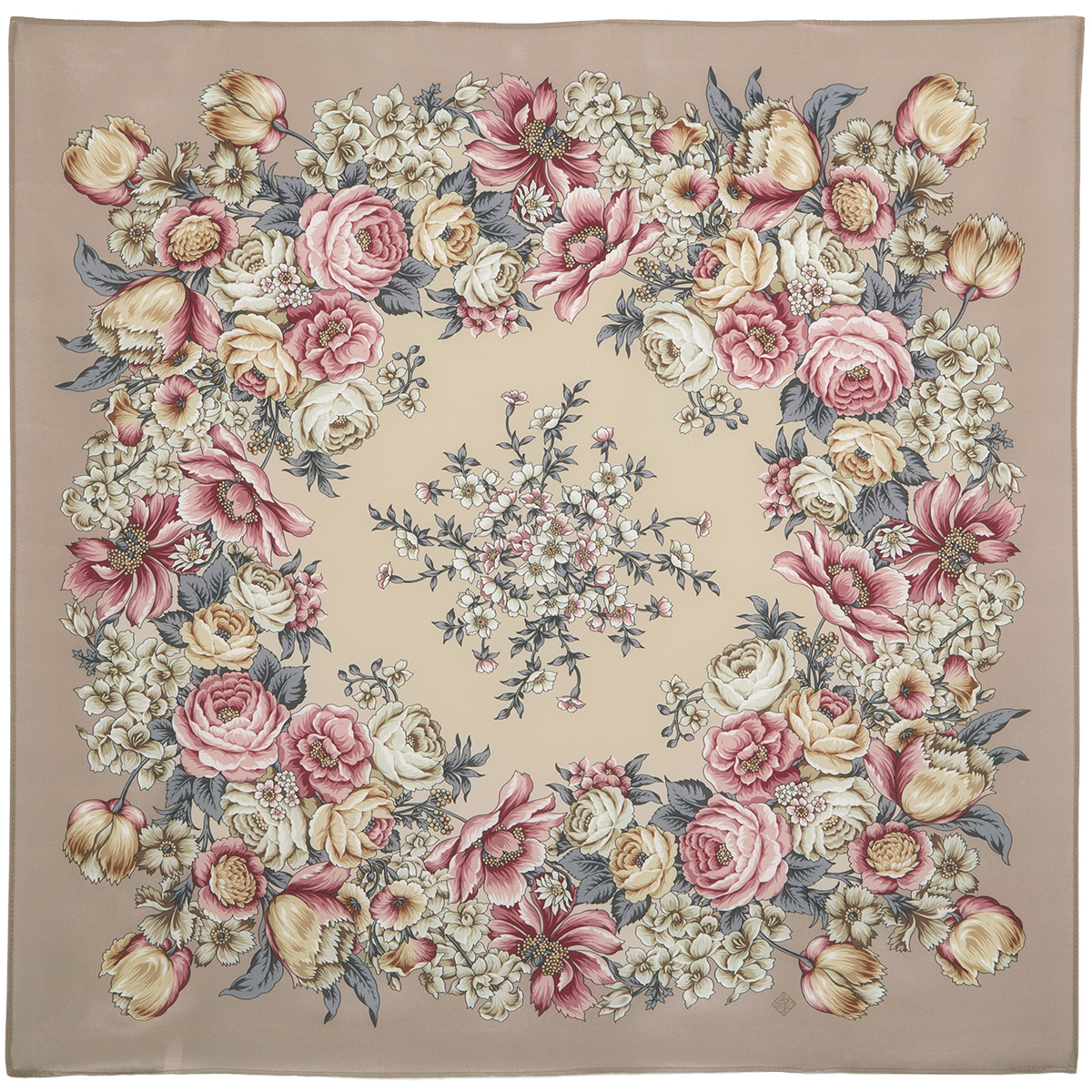 "Russian scarf ""Flowers for the beloved 1595-1"""