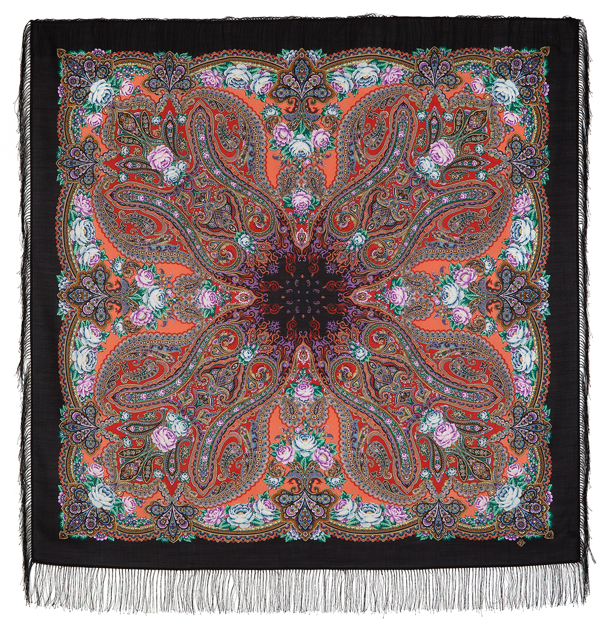 "Russian shawl ""Evening in the homestead 1671-18"""