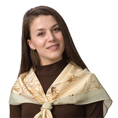"Russian scarf ""White dog-rose 1047-0"""