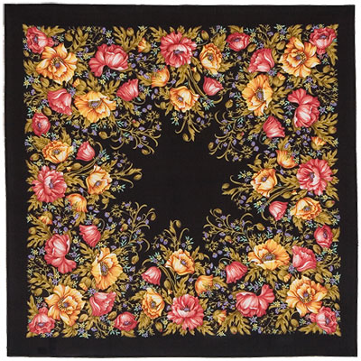 "Russian scarf ""Flowering poppies 1485-18"""