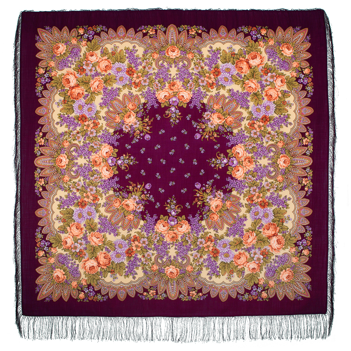 "Russian shawl ""Lilac blooms 1360-7"""