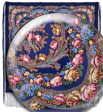 """Russian shawl """"Flowers under the snow 1099-14"""""""