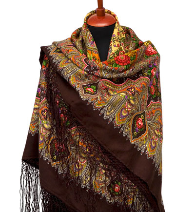 "Russian shawl ""Almonds 1369-17"""