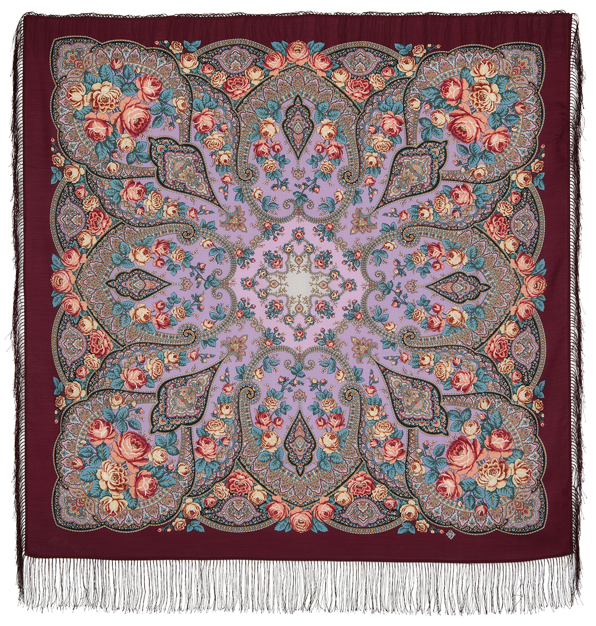 "Russian shawl ""Pink horizon 1639-6"""
